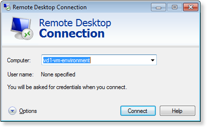 Establish a Remote Desktop connection