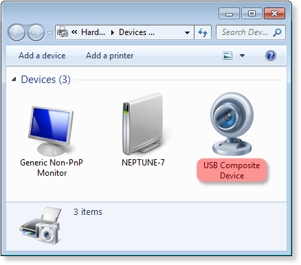 USB device connected over RDP